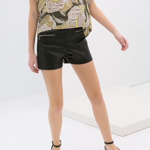 5cf6fc7f Zara Shorts | Faux Leather With Zips | Poshmark