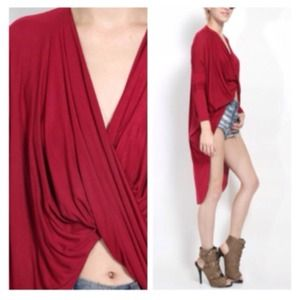 Tops - Marsala Red Front Twist Hi-Lo Top