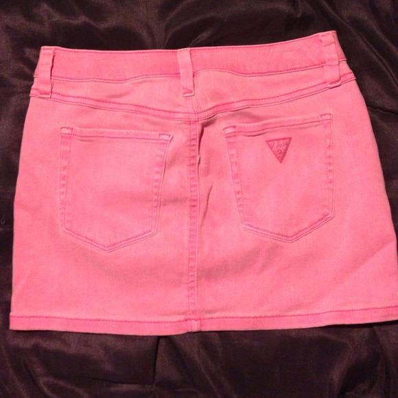 57% off Guess Dresses & Skirts - Guess jean skirt hot pink denim ...