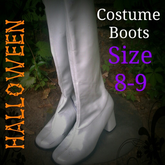 70% off Halloween Boots - Tall white Boots - Halloween Costume ...