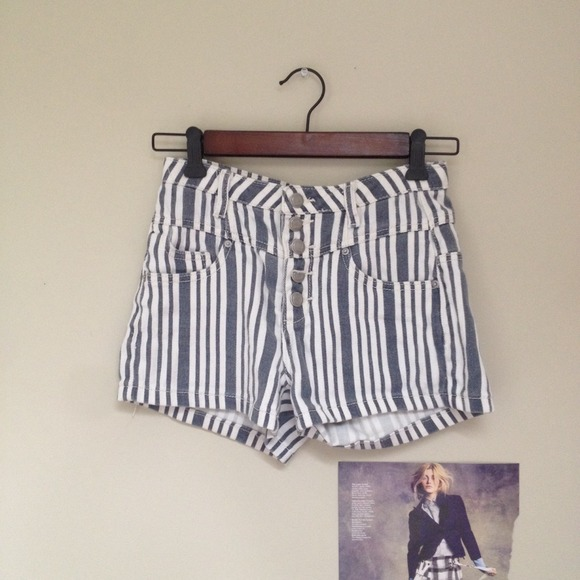 Pants - High Waist Striped Shorts
