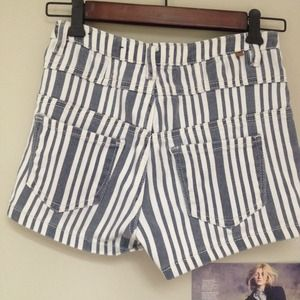 Shorts - High Waist Striped Shorts