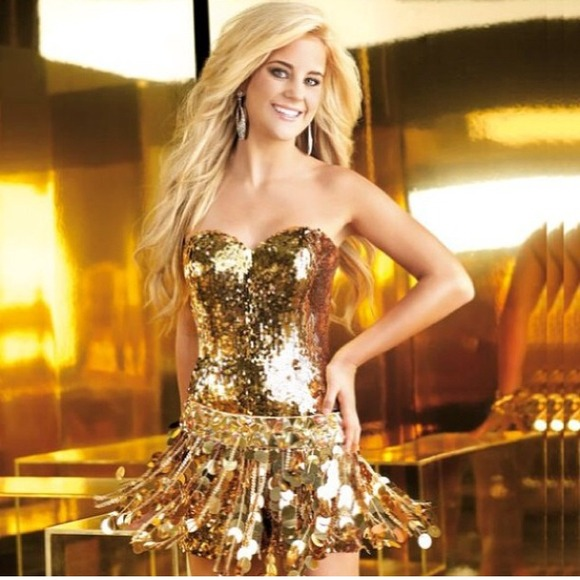 dae3f6f18a39 Alyce Paris Dresses   Skirts - Gold sequin romper with detachable skirt