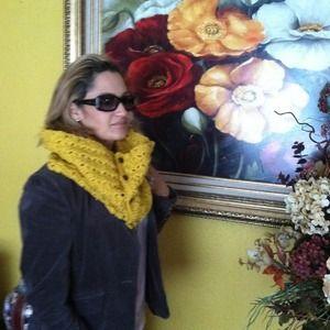 Mustard handmade infinity scarf