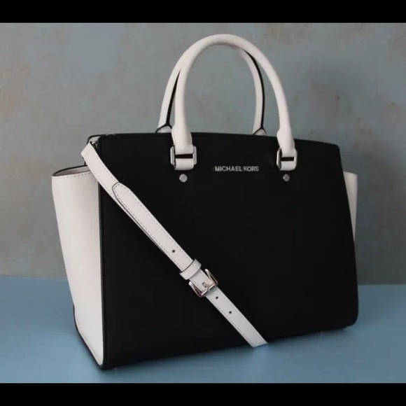 Michael Kors Black white selma satchel 8a3c8a0215dad
