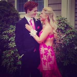 Hot pink open back high low lace prom dress