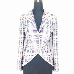 Chanel 09C Size 4 Mulitcolored Cutaway Blazer NEW