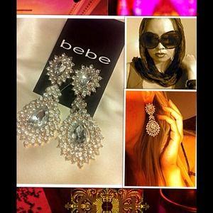 Bebe zircon drop dangle gold earrings