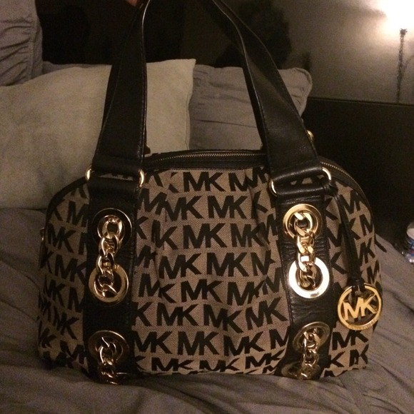 MK brown and black purse