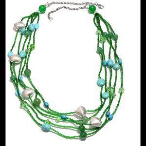Jewelry - Green Quartzite, Glass, Howlite Necklace