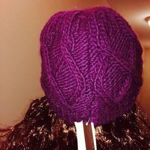 263d71a2d8e Aqua Accessories - Aqua brand plum knit hat - Bloomingdales