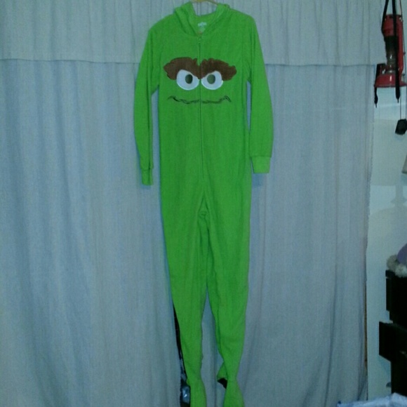 Oscar The Grouch Hooded Footie Pajama