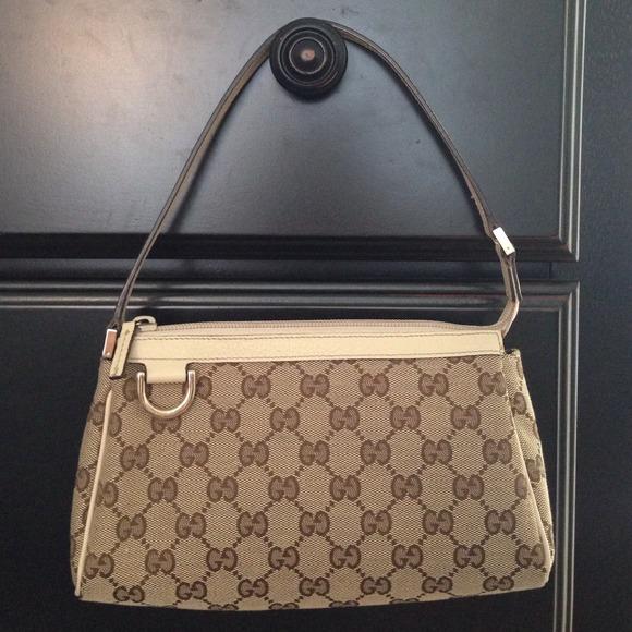 fbeadb30c79 Gucci Handbags - Gucci Monogram Pochette D-Ring Bag Brown Cream