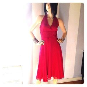 Deep Crimson silk chiffon halter dress 8
