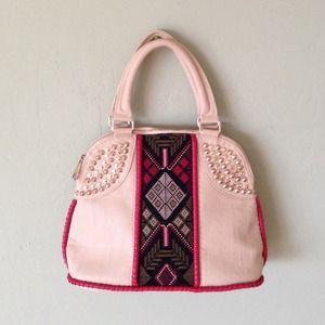 Tribal Handbag With Gold Hardware