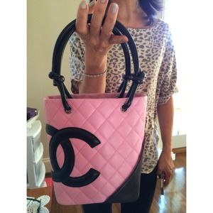 Chanel pink & black quilted cambon tote bag.