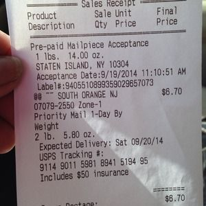 Tracking receipt for Anjelica