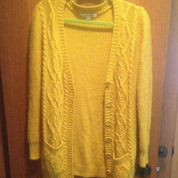 71% off Forever 21 Tops - Mustard yellow button up sweater (sizeM ...