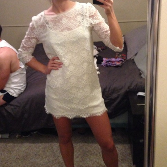 Long Sleeve White Lace Dress Forever 21 - Missy Dress