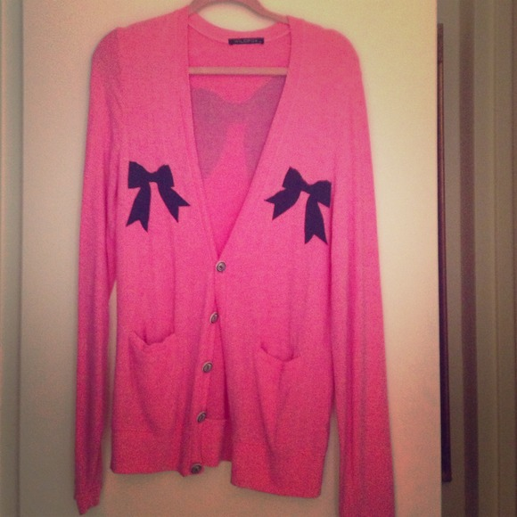 67% off Wildfox Sweaters - Wildfox pink bow cardigan from Colby's ...