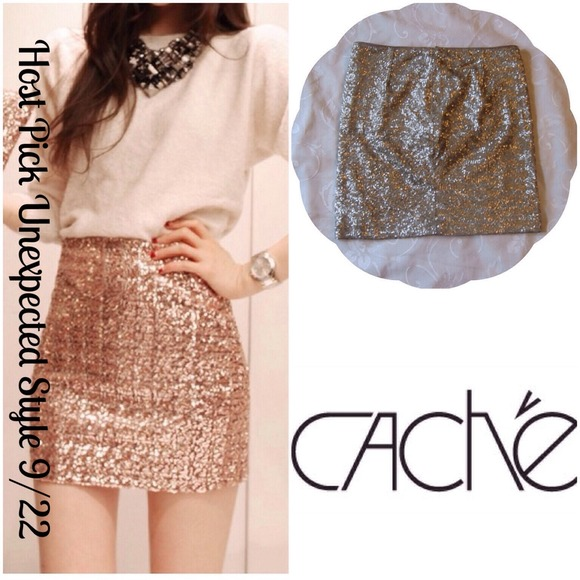 Gold Sequin Mini Skirt - Skirts