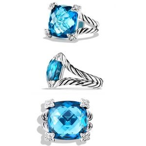 AUTHENTIC David Yurman Ring Hampton Blue Topaz