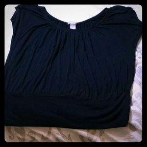 Navy Blue Short Sleeved Jersey Knit top