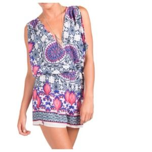 SALE Orchid Purple + White Paisley Romper