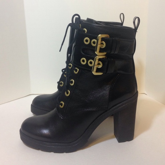 56% off Guess Boots - GUESS Finlay Lace-Up Buckle Booties ...