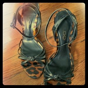 Patent leather strappy leopard print wedge sandals