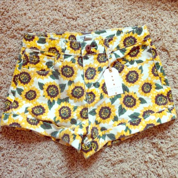 High waisted sunflower shorts