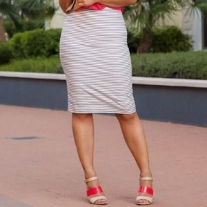 The Limited Dresses & Skirts - The Limited Blue Stripe High Waist Pencil Skirt