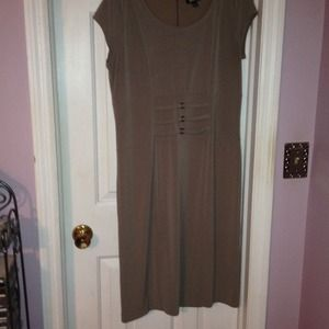 Classy taupe knit business dress.