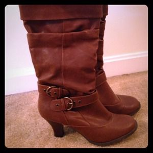 Boots - Brown faux leather heeled boots