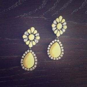 Yellow dangle costume earrings