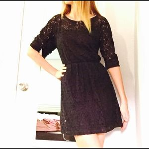 Anthropologie Black lace 3/4 sleeves dress