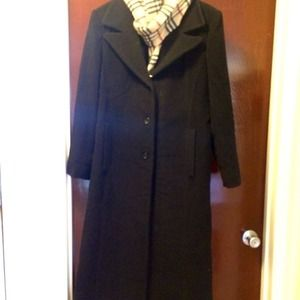 Anne Klein black 3 button wool trench coat.