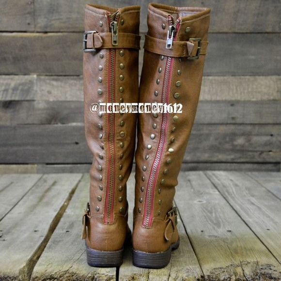Shoes New Red Zipper Riding Boot Brown Gray Black Taupe