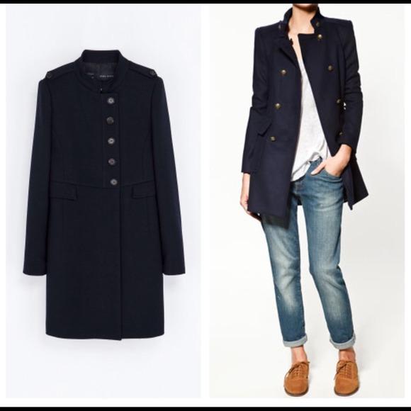 54% off Zara Outerwear - Zara Navy Military Coat from Erica&39s
