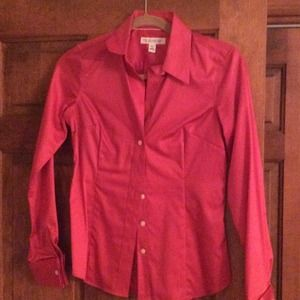 Non-iron pink/red button down blouse B. Republic