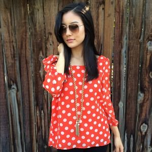 Forever 21 Tops - Sale! Red & White Polka Dot Blouse
