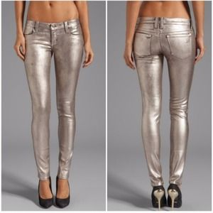 Frankie B BFF foil jeggings in chrome.