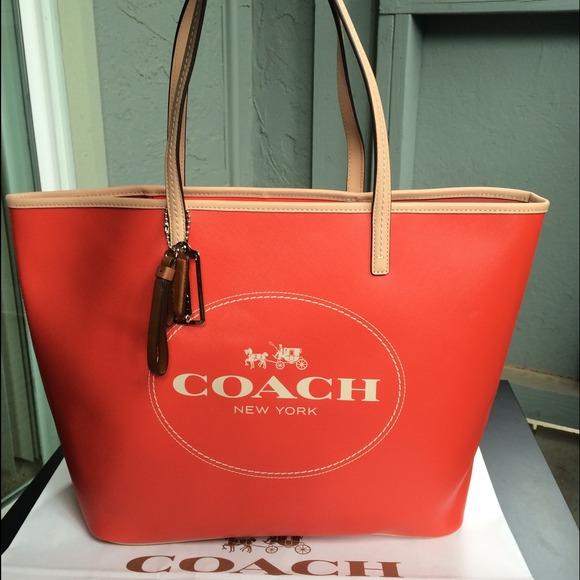 82c6fe42ab5d NWT coach logo saffiano logo tote orange handbag