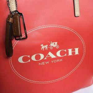 b79e21eea3cd Coach Bags - NWT coach logo saffiano logo tote orange handbag