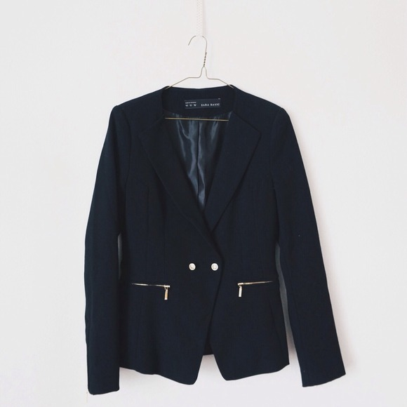 b69788d4 Zara Jackets & Coats | Pique Blazer With Zips | Poshmark