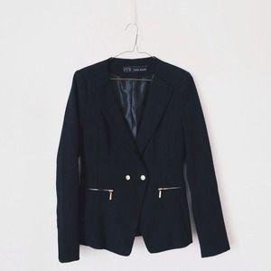 Pique Blazer With Zips