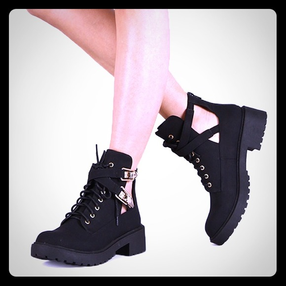 Black Cut out boots w/ gold buckles! 7.5 from Danielle\'s closet on ...