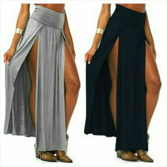 14ffcf81be7 High waisted double slit maxi skirt