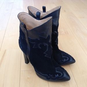 Zara cowboy leather ankle booties