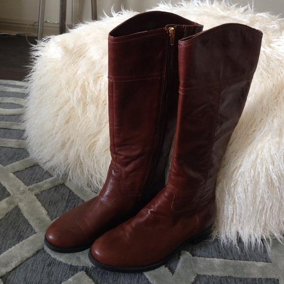 48d2773ffcd Audrey Brooke dark cognac leather riding boots.